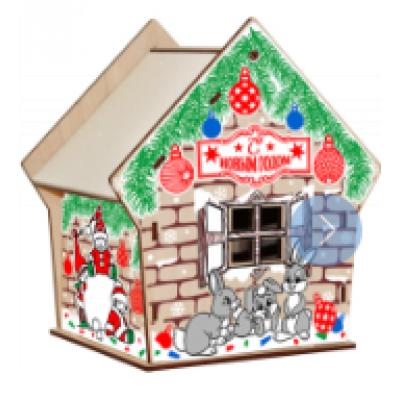 Сладкий новогодний подарок Домик снеговик и зайцы 500 гр