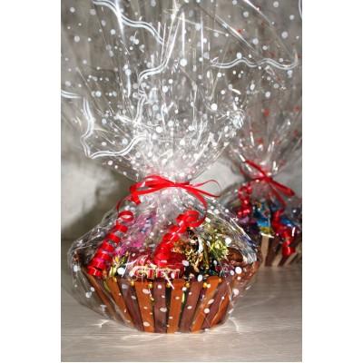 Сладкий новогодний подарок Корзина подарочная, 1000 гр