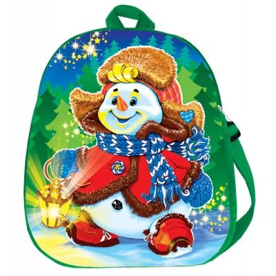 Упаковка текстильная для сладких новогодних подарков Рюкзак Снеговик , 1500-2000 гр