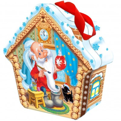 Сладкий новогодний подарок Избушка Деда Мороза, 900 гр