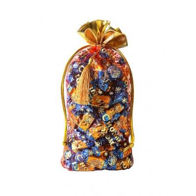 Упаковка текстильная для сладких новогодних подарков Мешок из органзы 1000-1200 гр