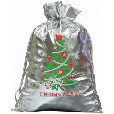 Упаковка текстильная для сладких новогодних подарков Мешочек из металлизированной ткани с рисунком