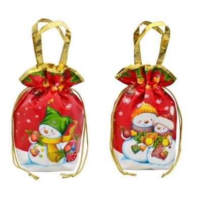 Сладкий новогодний подарок Мешок Снеговики металлизированный красный 1000 г