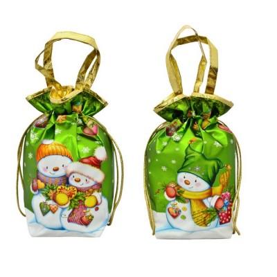 Сладкий новогодний подарок Мешок Снеговики металлизированный зеленый 1000 гр