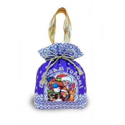 Сладкий новогодний подарок Мешок Узорный фиолетовый 1200гр
